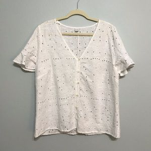 OLD NAVY | white eyelet button up top